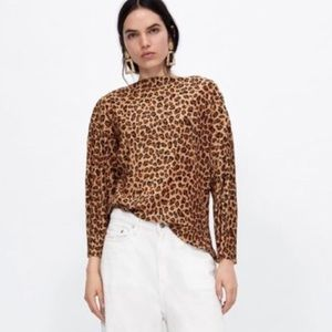 Zara | Leopard Print Long Sleeve Crinkle Top NWT